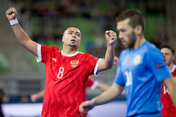 Eder Lima of Russia celebrates goal during futsal match between National teams of Kazakhstan and Russia at Day 5 of UEFA Futsal EURO 2018, on February 3, 2018 in Arena Stozice, Ljubljana, Slovenia. Photo by Urban Urbanc / Sportida