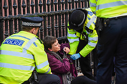 © Licensed to London News Pictures. 15/10/2019. LONDON, UK. Police in attendance as a climate activist from Extinction Rebellion is handcuffed and arrested outside the gates to Buckingham Palace during a Grandparents protest.  Activists are calling on the government to take immediate action against the negative effects of climate change.  Photo credit: Stephen Chung/LNP