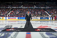 REGINA, SK - MAY 25: Ron Hitchcock of the Royal Canadian Legion walks the carpet to centre ice at the Brandt Centre on May 25, 2018 in Regina, Canada. (Photo by Marissa Baecker/CHL Images)