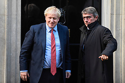 © Licensed to London News Pictures. 08/10/2019. LONDON, UK.  Boris Johnson, Prime Minister, (L) outside Number 10 Downing Street, ahead of talks with David Sassoli, President of the European Parliament (R).  Photo credit: Stephen Chung/LNP