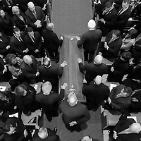The casket of former Boston Mayor Thomas M. Menino is brought down the aisle for his funeral Mass at Most Precious Blood Church in Hyde Park, Monday, November 03, 2014.
