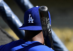 October 25, 2017 - Los Angeles, California, U.S. - Los Angeles Dodgers' Yasiel Puig using a Adrian Gonzalez bat during batting practice prior to game two of a World Series baseball game against the Houston Astros at Dodger Stadium on Wednesday, Oct. 25, 2017 in Los Angeles. (Photo by Keith Birmingham, Pasadena Star-News/SCNG) (Credit Image: © San Gabriel Valley Tribune via ZUMA Wire)