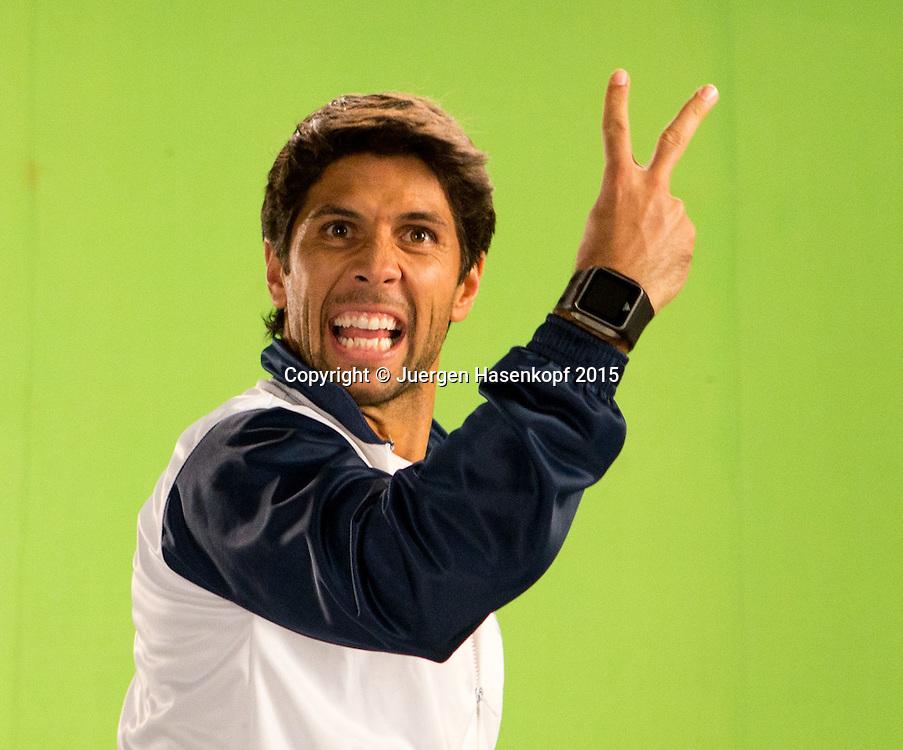 Fernando Verdasco  (ESP) macht ein Promotion Video im TV Studio,Portrait,<br /> <br /> Tennis - Champions Tennis League 2015 -  -   - Chennai - Tamil Nadu - India  - 25 November 2015. <br /> &copy; Juergen Hasenkopf