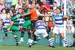 Jose Mourinho plays in goal for team ferdinand at the Game for Grenfell at Loftus Road London<br /><br />2 September 2017.<br /><br />Please byline: Vantagenews.com