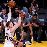 06 November 2016: Los Angeles Lakers center Timofey Mozgov (20) goes for the baby hook over Phoenix Suns center Tyson Chandler (4) during the LA Lakers 119-108 victory over the Phoenix Suns, at the Staples Center, Los Angeles, California, USA.