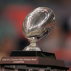21 December 2008: A close up of the New Orleans Bowl trophy that was won by Southern Miss Golden Eagles in a 30-27 overtime victory over the Troy Trojans in the  R+L Carriers New Orleans Bowl at the New Orleans Superdome in New Orleans, LA.