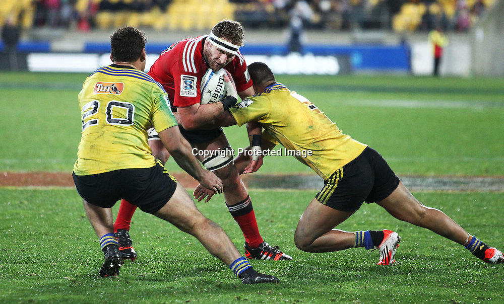 Crusaders' Kieran Read runs into contact during the Round 17 Super Rugby match, between the Hurricanes & Crusaders. Westpac Stadium, Wellington. 28 June 2014. Photo.: Grant Down / www.photosport.co.nz