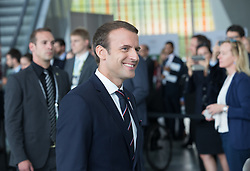 LAUSANNE, July 11, 2017  French President Emmanuel Macron arrives for the presentation of the Paris 2024 Candidate City Briefing for International Olympic Committee (IOC) members at the SwissTech Convention Centre, in Lausanne, Switzerland, July 11, 2017. (Credit Image: © Xu Jinquan/Xinhua via ZUMA Wire)