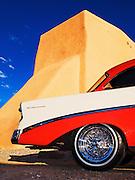 A '56 Chevy parked behind Saint Francis de Asis Church in Ranchos de Taos, New Mexico.