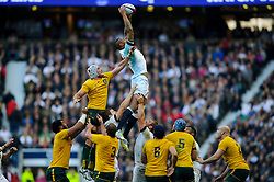 England Lock (#5) Courtney Lawes (Northampton Saints) wins a lineout during the first half of the match - Photo mandatory by-line: Rogan Thomson/JMP - Tel: Mobile: 07966 386802 02/11/2013 - SPORT - RUGBY UNION -  Twickenham Stadium, London - England v Australia - Cook Cup - QBE Autumn Internationals.