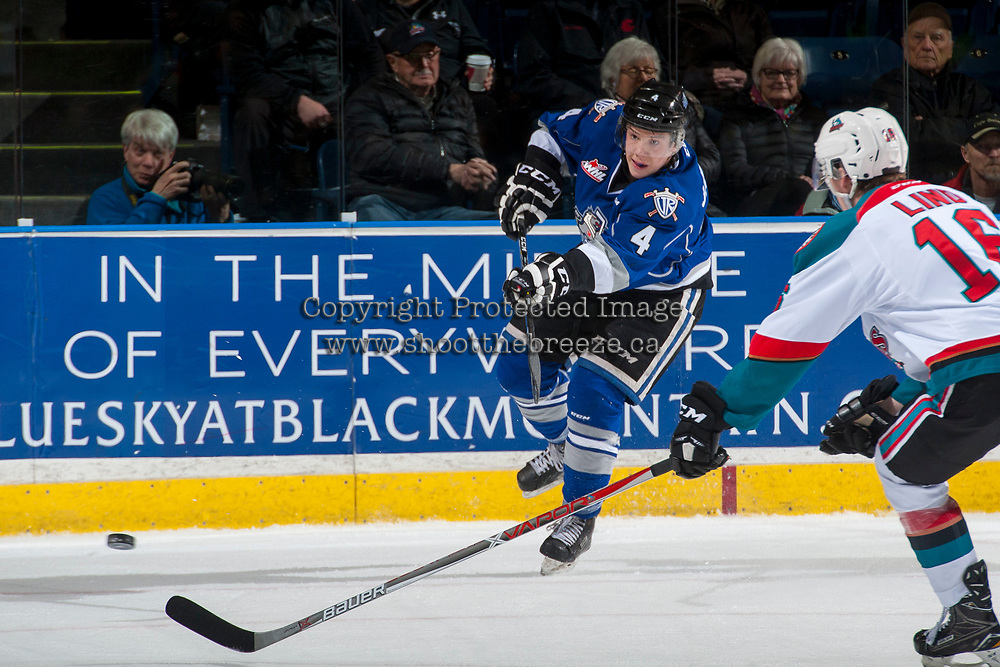 KELOWNA, CANADA - MARCH 7: Ralph Jarratt #4 of the Victoria Royals passes the puck against the Kelowna Rockets on March 7, 2017 at Prospera Place in Kelowna, British Columbia, Canada.  (Photo by Marissa Baecker/Shoot the Breeze)  *** Local Caption ***