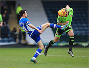 Ian Henderson, Jay McEveley during the Sky Bet League 1 match between Rochdale and Sheffield Utd at Spotland, Rochdale, England on 27 February 2016. Photo by Daniel Youngs.