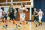 Essex's Muchaela Harton (32) runs down the court with the ball during the girls basketball game between the St. Johnsbury Hilltoppers and the Essex Hornets at Essex high school on Tuesday night January 5, 2016 in Essex. (BRIAN JENKINS/for the FREE PRESS)
