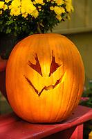 Halloween traditional jack-o-lantern, carve pumpkin.