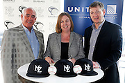 (L to R) Baseball NZ Chariman Chip Dawson, United Airlines Australia and New Zealand director Julie Reid and Baseball NZ CEO Ryan Flynn. Baseball New Zealand Partnership Announcement with United Airlines. Auckland, New Zealand. 2 November 2016. Copyright Photo: William Booth / www.photosport.nz