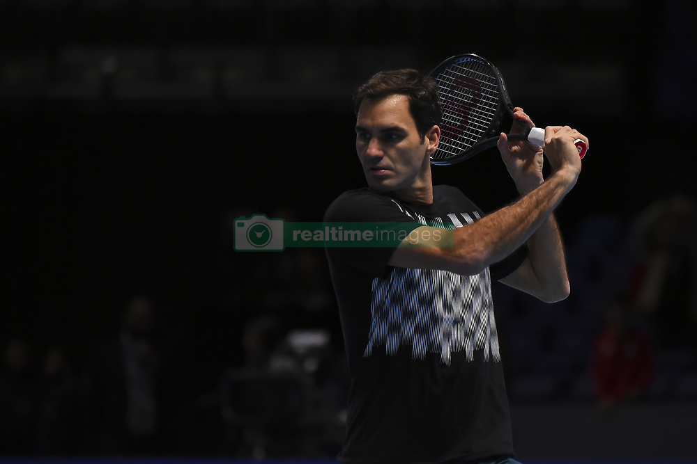 November 18, 2017 - London, England, United Kingdom - Roger Federer of Switzerland in action during a training session before his match with David Goffin (BEL) on day seven of Nitto ATP World Tour FInals at the O2 Arena in London, UK, on 18 November 2017. (Credit Image: © Alberto Pezzali/NurPhoto via ZUMA Press)