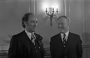 Canadian Prime Minister, Pierre Trudeau arrives in Dublin    (J17).14.03.1975.03.14.1975.3rd April 1975..Pierre Trudeau arrived today for a brief visit to Ireland. He was greeted by the Taoiseach Mr. Liam Cosgrave on his arrival at Dublin Airport..Photograph of Canadian Prime Minister Pierre Trudeau with Irish Taoiseach Liam Cosgrave as they prepare for talks at Dublin Castle.