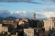 Corsica. France. Sartene, perched village on a montain , general view - In South Corsica France   / Sartene , village perché sur la montagne vue generale  Corse du sud - France