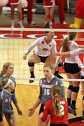 06 November 2015:  Kaitlyn Hunt(17) during an NCAA women's volleyball match between the Bradley Braves and the Illinois State Redbirds at Redbird Arena in Normal IL (Photo by Alan Look)