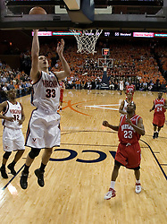 Virginia's Jason Cain (33) converts on two of his 13 points against Maryland.  The Cavaliers defeated the #22 ranked Terrapins 103-91 at the John Paul Jones Arena in Charlottesville, VA on January 16, 2007.