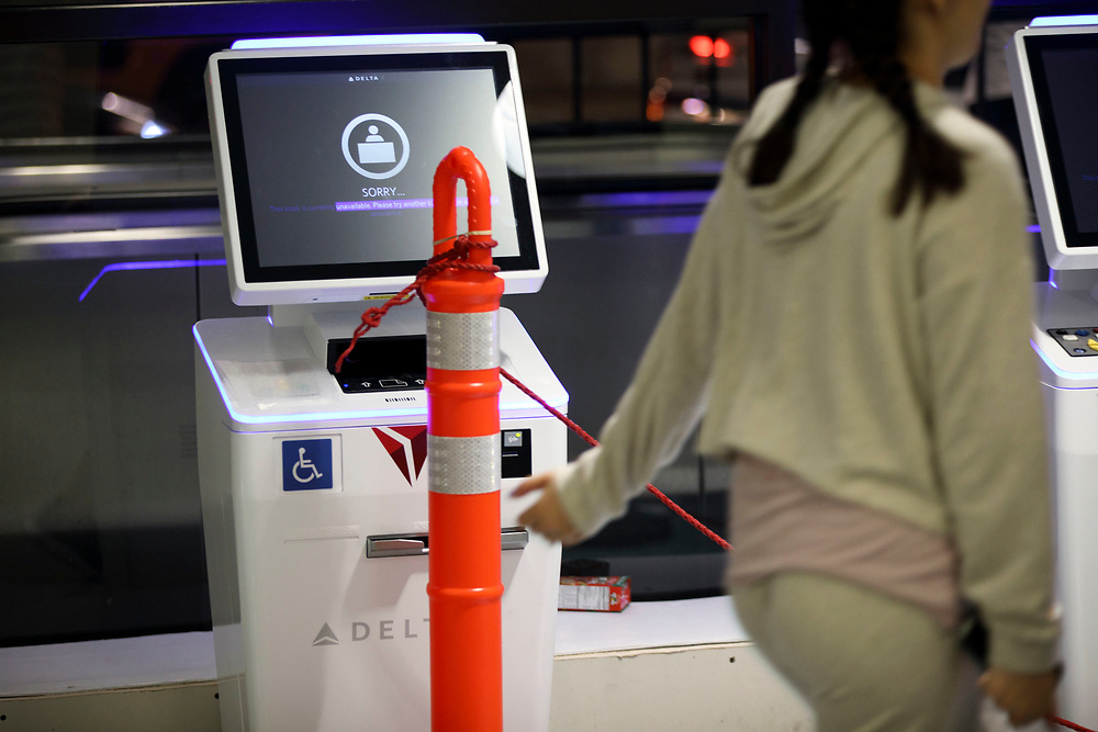 A Delta Airlines check-in kiosk stands blocked in Terminal 3 as the airline relocation begins at Los Angles International Airport (LAX) on Friday, May 12, 2017 in Los Angeles, Calif. Delta Airlines will move from Terminals 5 and 6 to Terminals 2 and 3, forcing 19 other carriers to shift their operations into the facilities vacated by Delta.  © 2017 Patrick T. Fallon