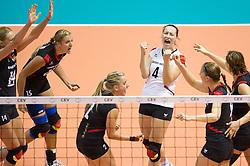 02.10.2011, Hala Pionir, Belgrad, SRB, Europameisterschaft Volleyball Frauen, Finale, Deutschland (GER) vs. Serbien (SRB), im Bild Jubel Deutschland: Margareta Kozuch (#14 GER / Sopot POL), Maren Brinker (#15 GER / Pesaro ITA), Kathleen Weiß / Weiss (#2 GER), Kerstin Tzscherlich (#4 GER / Dresden GER), Corina Ssuschke-Voigt (#9 GER / Sopot POL), Angelina Grün / Gruen (#7 GER / Aachen GER) // during the 2011 CEV European Championship, Final at Hala Pionir, Belgrade, SRB, Germany vs Serbia, 2011-10-02. EXPA Pictures © 2011, PhotoCredit: EXPA/ nph/  Kurth       ****** out of GER / CRO  / BEL ******