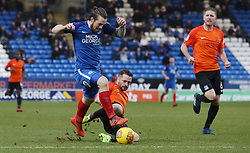 Jack Marriott of Peterborough United is challenged by John White of Southend United - Mandatory by-line: Joe Dent/JMP - 03/02/2018 - FOOTBALL - ABAX Stadium - Peterborough, England - Peterborough United v Southend United - Sky Bet League One