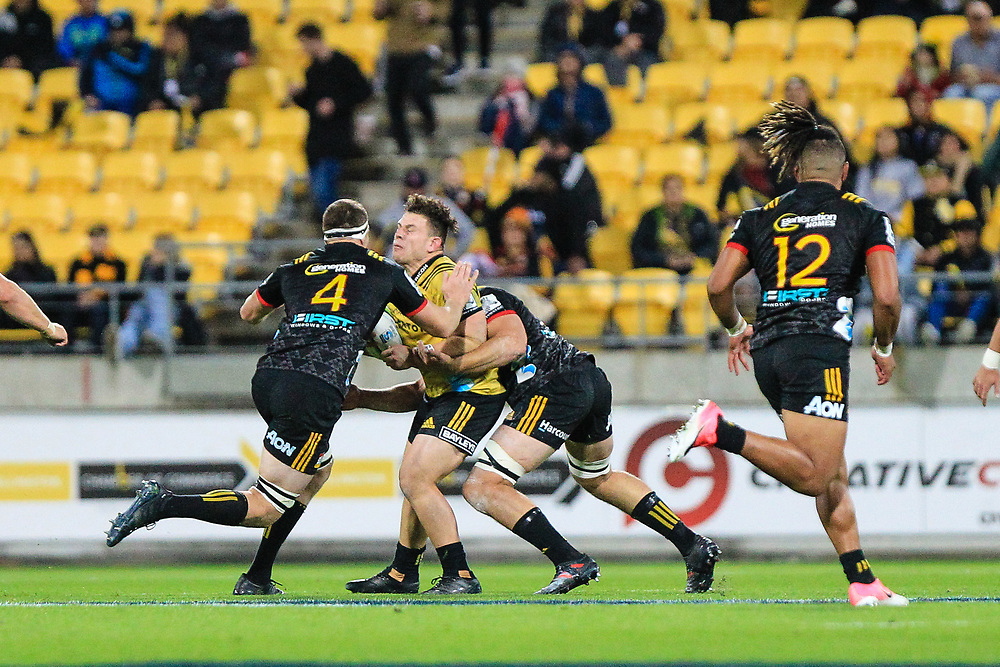 during the super rugby union game between Hurricanes and Chiefs, played at Westpac Stadium, Wellington, New Zealand on 13 April 2018. Hurricanes won 25-13.