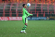 Forest Green Rovers Keanu Marsh-Brown(7) controls the ball during the Vanarama National League match between Wrexham FC and Forest Green Rovers at the Racecourse Ground, Wrexham, United Kingdom on 26 November 2016. Photo by Shane Healey.