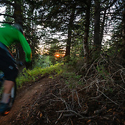 Jake Hawkes rides the lift accessed singletrack trails of Grand Targhee Resort at sunset in summer.