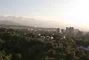 Skyline of Almaty, Altau Range in background, Kazakhstan
