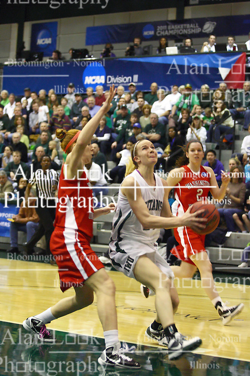 18 March 2011: Nikki Preston looks at the goal guarded by Hannah Cusworth during an NCAA Womens basketball game between the Washington University Bears and the Illinois Wesleyan Titans at Shirk Center in Bloomington Illinois.