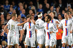 LONDON, ENGLAND - September 18: Basel's Mohamed Salah celebrates with his team mates after scoring a goal during the UEFA Champions League Group E match between Chelsea from England and Basel from Switzerland played at Stamford Bridge, on September 18, 2013 in London, England. (Photo by Mitchell Gunn/ESPA)