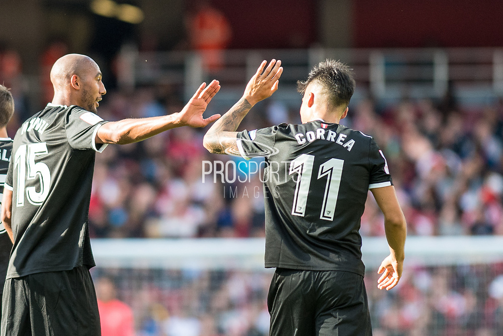 Sevilla midfielder Steven N'Zonzi (15)celebrate scoring goal with team mates ,Sevilla forward Joaquin Correa (11) during the Emirates Cup 2017 match between Arsenal and Sevilla at the Emirates Stadium, London, England on 30 July 2017. Photo by Sebastian Frej.