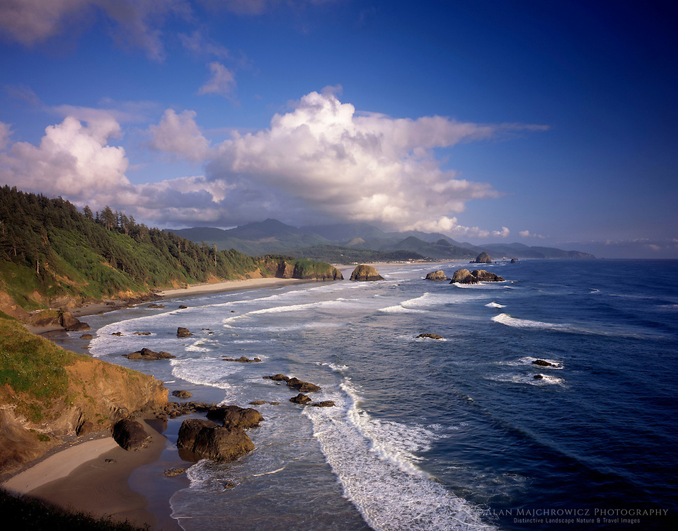 View of Canon Beach from Ecola State Park Oregon USA beautiful