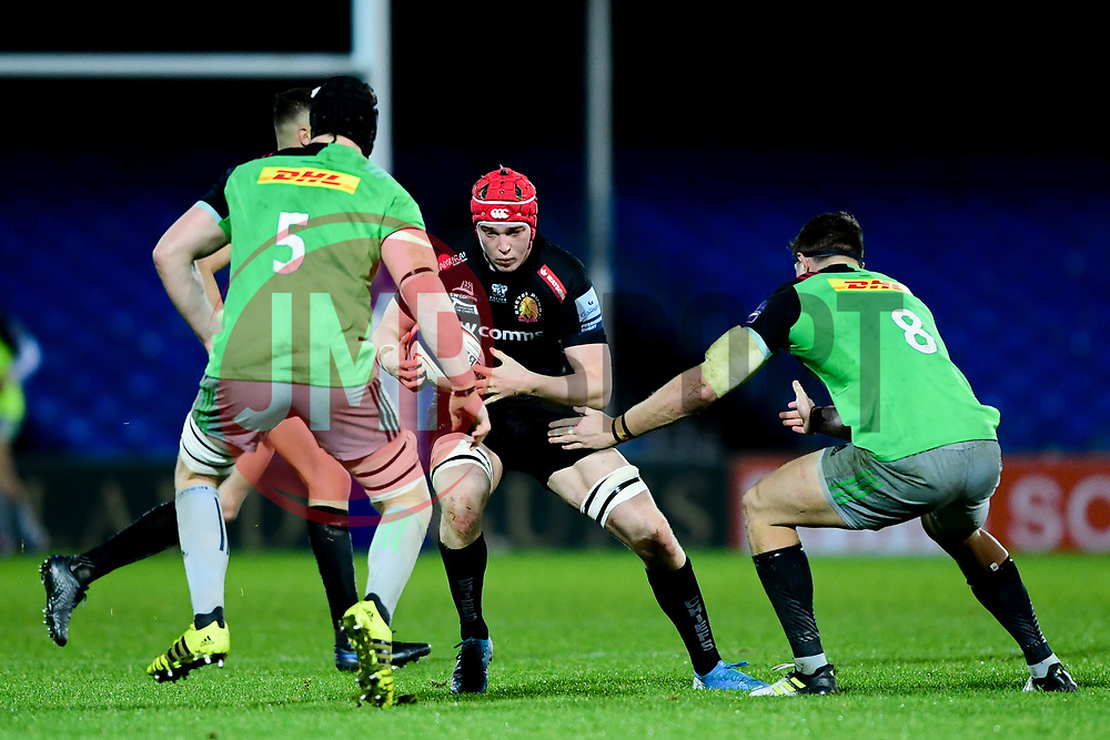 Richard Capstick of Exeter Chiefs is marked by Toby Freeman of Harlequins and Dino Lamb of Harlequins - Mandatory by-line: Ryan Hiscott/JMP - 25/11/2019 - RUGBY - Sandy Park - Exeter, England - Exeter Braves v Harlequins - Premiership Rugby Shield