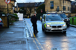 © Licensed to London News Pictures. 20/12/2019. London UK: Police were called to a property in Hanameel street, Silvertown in Newham, East London after a male in his late twenties was found with stab wounds, Paramedics pronounced him dead at around 2.45 this morning. Detectives have arrested a male in connection with the investigation, Photo credit: Steve Poston/LNP