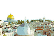 Digitally enhanced image the view of the Old City from the roof of the Austrian Hospice of the Holy Family, Jerusalem, Israel