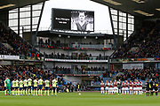 Teams take part in the minutes applause for Burnley legend Brian Pilkington during the Premier League match between Burnley and Bournemouth at Turf Moor, Burnley, England on 22 February 2020.