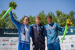Benjamin Savsek of Slovenia, Roberto COLAZINARI of Italy and Alexander SLAFKOVSKY during the Canoe Single (C!) Mens Final race of 2019 ICF Canoe Slalom World Cup 4, on June 28, 2019 in Tacen, Ljubljana, Slovenia. Photo by Sasa Pahic Szabo / Sportida