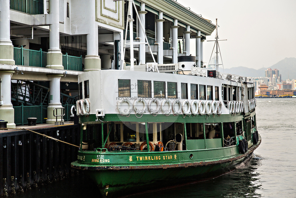 Star Ferry docked at the Tsim Sha Tsui terminal Kowloon Hong Kong.