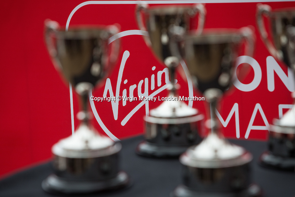 The trophies for Virgin Giving Mini London Marathon 2015 waiting to be presented by Tottenham' and England star Andros Townsend, Sunday 26th April 2015.<br /> <br /> Neil Turner for Virgin Money London Marathon<br /> <br /> For more information please contact Penny Dain at pennyd@london-marathon.co.uk
