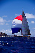 J Class Velsheda sailing in the Butterfly Race at the Antigua Classic Yacht Regatta.