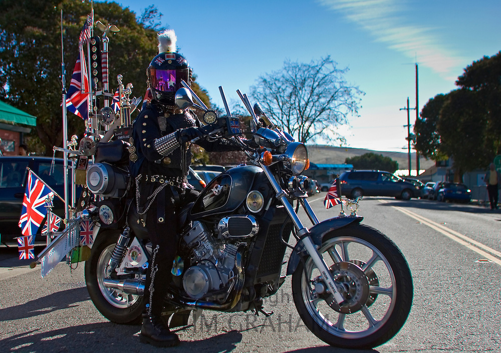 Biker riding on an Iron Horse motorcycle, Marin County, California, United States of America