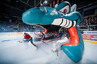 KELOWNA, CANADA - DECEMBER 6: The Kelowna Rockets enter the ice against the Prince Albert Raiders on December 6, 2014 at Prospera Place in Kelowna, British Columbia, Canada.  (Photo by Marissa Baecker/Shoot the Breeze)  *** Local Caption ***