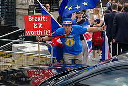 © Licensed to London News Pictures. 17/07/2018. London, UK. Anti-Brexit protesters shout at the car of a Cabinet member as it enters Parliament. Photo credit: Rob Pinney/LNP