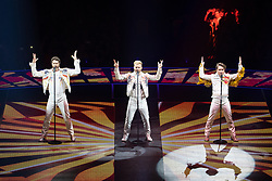© Licensed to London News Pictures . 18/05/2017 . Manchester , UK . HOWARD DONALD , GARY BARLOW and MARK OWEN . Take That perform live at the opening night of their Wonderland tour at the Manchester Arena . Photo credit : Joel Goodman/LNP