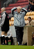 Photo: Jed Wee.<br />Bradford City v Tranmere Rovers. The FA Cup.<br />06/11/2005.<br /><br />Tranmere manager Brian Little has his head in his hands as his side concede two quick goals early in the second half.