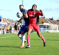 Bristol Rovers' Adam Cunnington battles for the ball with Dover Athletic's Tyrone Sterling - Photo mandatory by-line: Alex James/JMP - Mobile: 07966 386802 - 04/10/2014 - SPORT - Football - Bristol - Memorial Stadium - Bristol Rovers v Dover - Vanarama Football Conference
