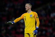 Jordan Pickford of England calms his team mates down during the International Friendly match between England and USA at Wembley Stadium, London, England on 15 November 2018.
